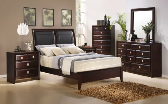 Aurora Bedroom Set with Leather Bed